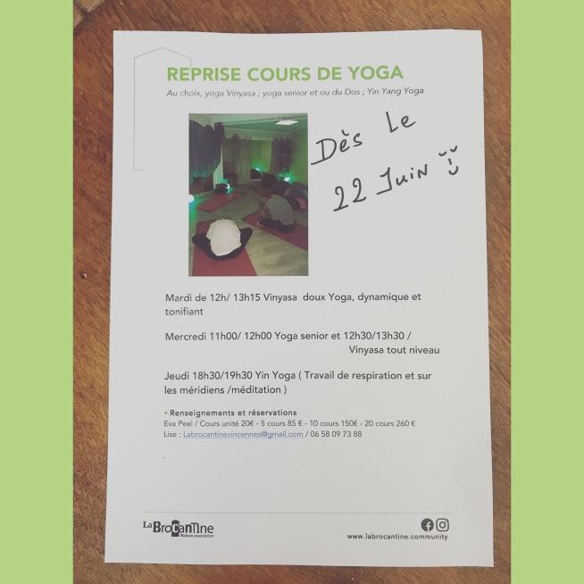 reprise cours yoga Juin 2020